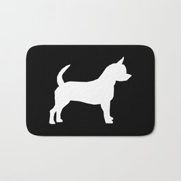 Chihuahua silhouette black and white pet art dog pattern minimal chihuahuas Bath Mat