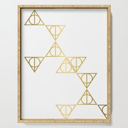 Deathly hallows golden pattern Serving Tray