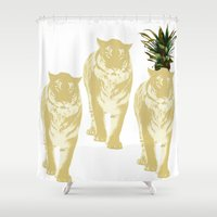 tigers Shower Curtains featuring tigers by vica