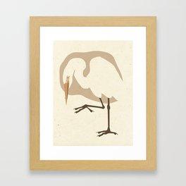 Egret on Mulberry Framed Art Print