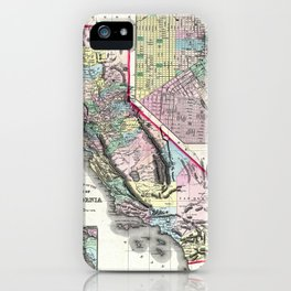 1872 Map of California and San Francisco iPhone Case
