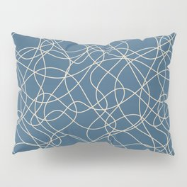 Beige Scribbled Lines Abstract Hand Drawn Mosaic on Blue - 2020 Color Of The Year Chinese Porcelain Pillow Sham