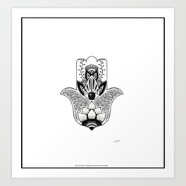 """""""The Hand of Fatima"""",""""Hand of Miriam"""" with Eye of Horus, an ancient strong Symbol for Protection and Art Print"""