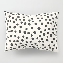 Black Decorative Dots on White, Minimalist line drawing, Modern art print with dots. Pillow Sham