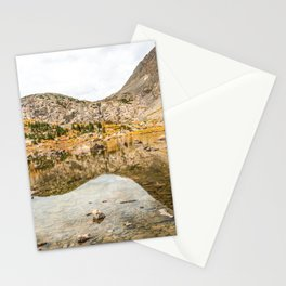 Crystal Clear Lake // Rustic Mountain Gray Sky and Autumn Colors Stationery Cards