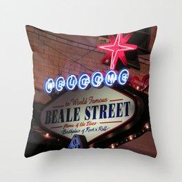 Beale Street, Memphis Throw Pillow