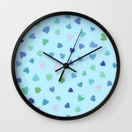 Love, Romance, Hearts - Blue Green Pink  Wall Clock