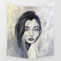 karen hallion Wall Tapestries featuring Karen by Pamela Schaefer