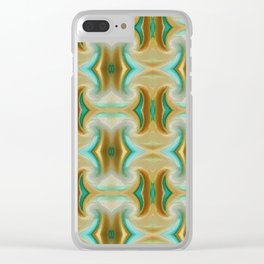 Blue-green and Brown pattern Clear iPhone Case