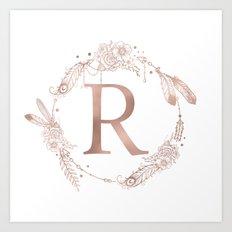 Letter R Rose Gold Pink Initial Monogram Art Print