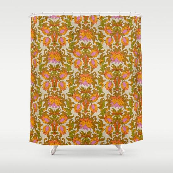Orange, Pink Flowers and Green Leaves 1960s Retro Vintage Pattern by eyestigmatic_design
