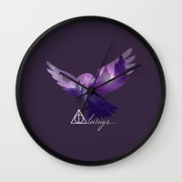 hedwig Wall Clocks featuring Hedwig by KeriiLynne