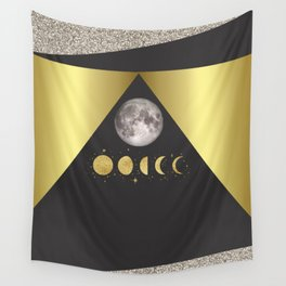 Elegant Abstract Gold Moon Phases Wall Tapestry