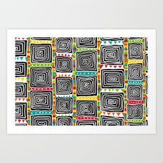 Tribal Squares white Art Print