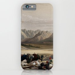 Vintage Print - The Holy Land, Vol 3 (1843) - Camels and a travelling party resting iPhone Case