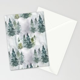 Dreamy Pine Forest in Soft Hues of Green and Gray Stationery Cards