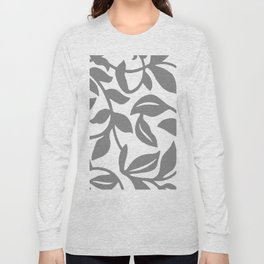 LEAF PALM SWIRL IN GRAY AND WHITE Long Sleeve T-shirt