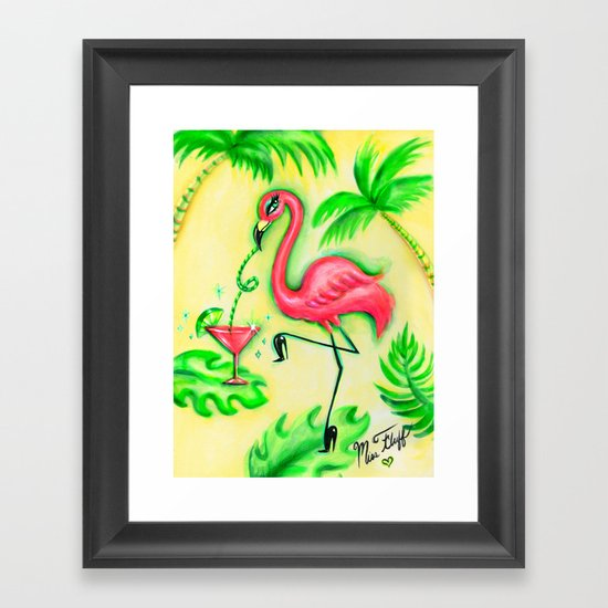 Flamingo Sipping a Pink Martini Framed Art Print