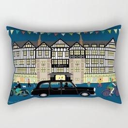 Art Print of Liberty of London Store - Night with Black Cab Rectangular Pillow