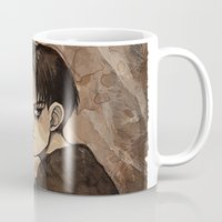 levi Mugs featuring Coffee Painting - Levi by arumise