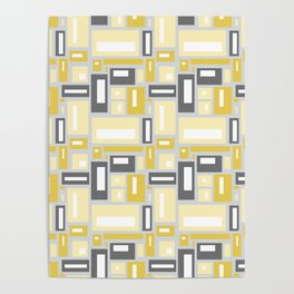 Simple Geometric Pattern in Yellow and Gray Poster