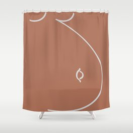 Happy Belly Line Art Shower Curtain
