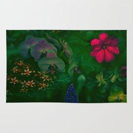 Gathering of Flowers - [Green Version] Rug
