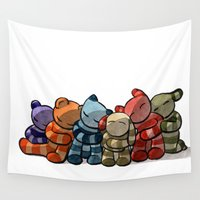 cuddle Wall Tapestries featuring Cuddle by Friederike Ablang