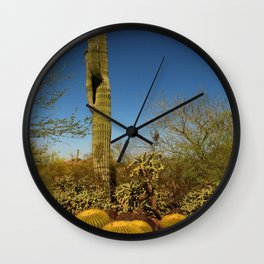Saguaro and Mother in Law Pillow Wall Clock