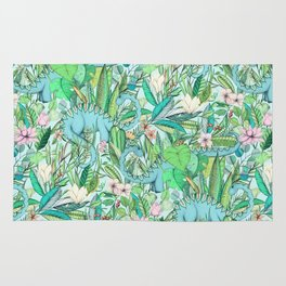 Improbable Botanical with Dinosaurs - soft pastels Rug