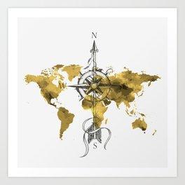 Gold World Map 2 Art Print