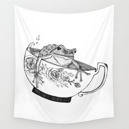 Pacific Northwest Tree Frog Riding in a China Teacup Wall Tapestry