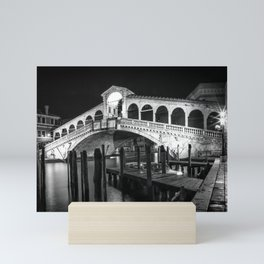 VENICE Rialto Bridge at Night | Monochrome Mini Art Print