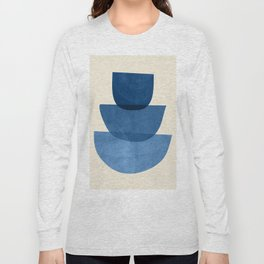 Abstract Shapes 37-Blue Long Sleeve T-shirt