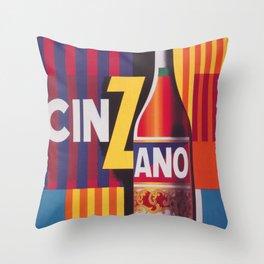 Cinzano Vintage Beverage Poster Throw Pillow