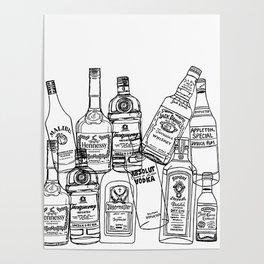 Alcohol Bottles (White) Poster