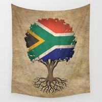 south africa Wall Tapestries featuring Vintage Tree of Life with Flag of South Africa by Jeff Bartels
