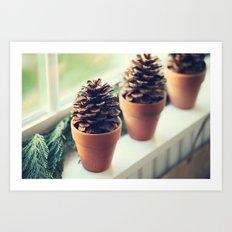 pinecones in the window Art Print