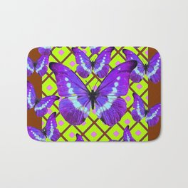 Migrating Purple Butterflies  on  Coffee Brown & Lime Color Pattern Bath Mat