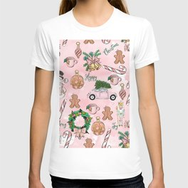THE VERY PINK CHRISTMAS WATERCOLOR PATTERN T-shirt