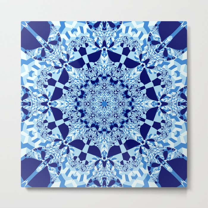 Blue toned cubism in a kaleidoscope Metal Print