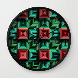Color op art squares and striped lines with realistic effect Wall Clock