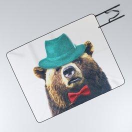 Funny Bear Illustration Picnic Blanket