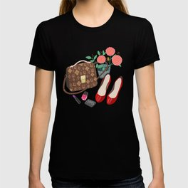Classic Friday Night, bag, shoes, flower, make up, lipstick art print, girly illustration T-shirt
