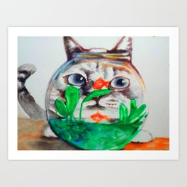 hungry cat Art Print