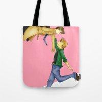 destiel Tote Bags featuring Destiel by doodle bags