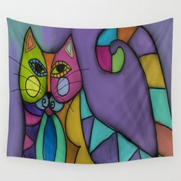 Cat of Many Colors Abstract Digital Painting  Wall Tapestry