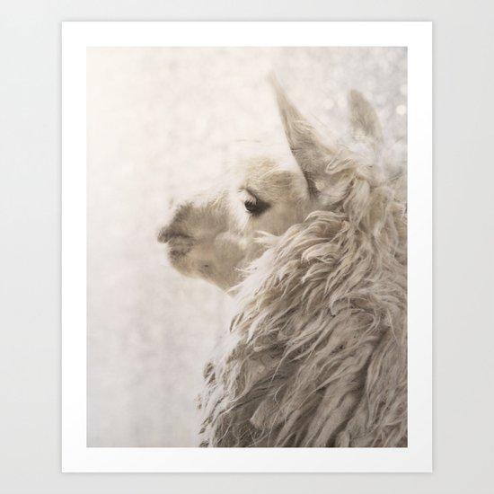 Magical White Alpaca Art Print