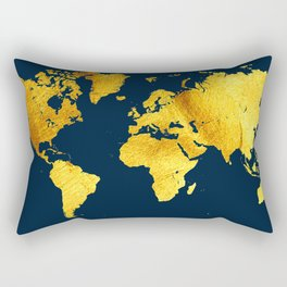 Royal Blue and Gold Map of The World - World Map for your walls Rectangular Pillow