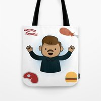 parks and recreation Tote Bags featuring Ron Swanson - Parks and Recreation by Joe Bidmead